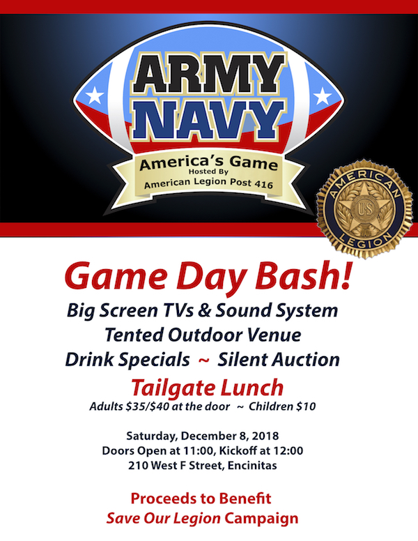 Army v  Navy Game fundraiser on Saturday, December 8, 2018 | San